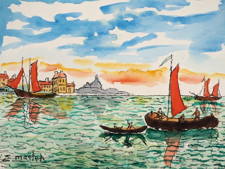 Venice (San Giorgia) - Original Watercolor, Handsigned - Gray Landscape Art by Elisée Maclet