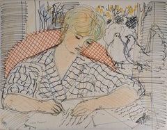 Andree Writing a Latter with Doves - Original Ink and Pastel Drawing