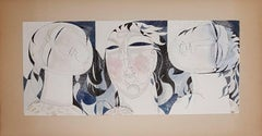 (Art Deco) Three Women Faces (Three Graces) - Original watercolor, Handsigned