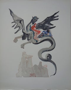 Hell 18 - The usurers (Man on a Dragon) - woodcut - 1963