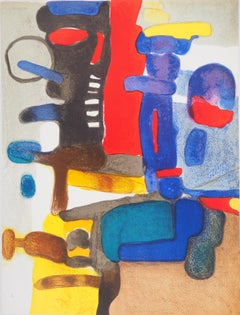 Guidour (Abstract Landscape in Blue and Red) - Original lithograph