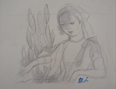 Woman in the Garden - Original pencil drawing