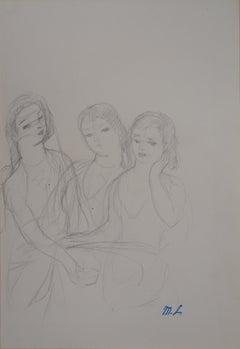 Three Dreaming Girls - Original pencil drawing