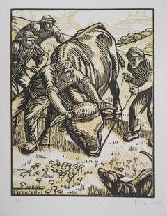 The Untamed Bull - Original woodcut, Handsigned