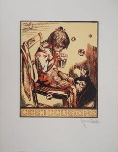 Illusion : Boy, Cat and Soap Bubbles - Original woodcut, Handsigned