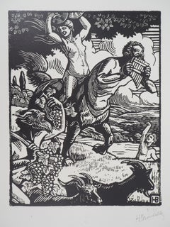 Mythology : Harvest with Bacchus, Fauna and Nymph - Original woodcut, Handsigned