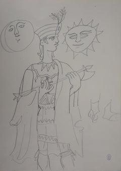Inca Praying the Sun and the Moon - Original drawing