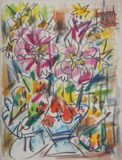 Bouquet of Lilies and Wild Flowers - Original charcoal drawing, Handsigned