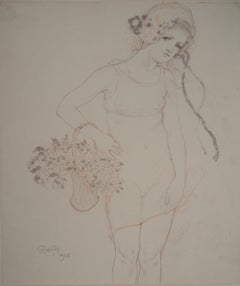 Young Girl with Flowers - Original drawing, Handsigned