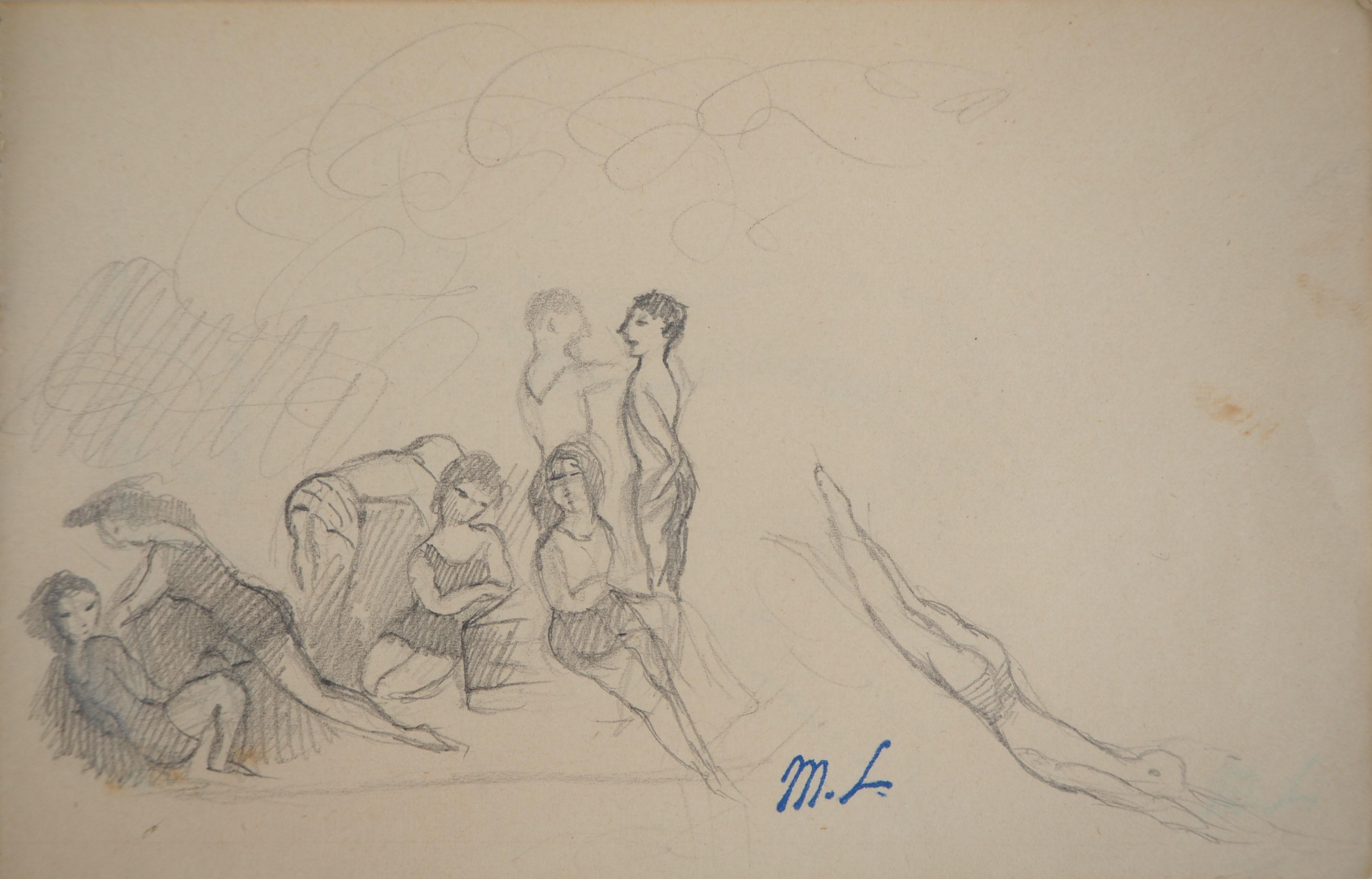 Summer : Girls and Boys at the Beach - Original pencil drawing