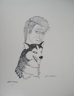 Selfportrait with a Husky Dog - Lithograph, Ltd 50 copies