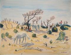 Camargue : Horses and Men - Tall Original watercolor, Handsigned