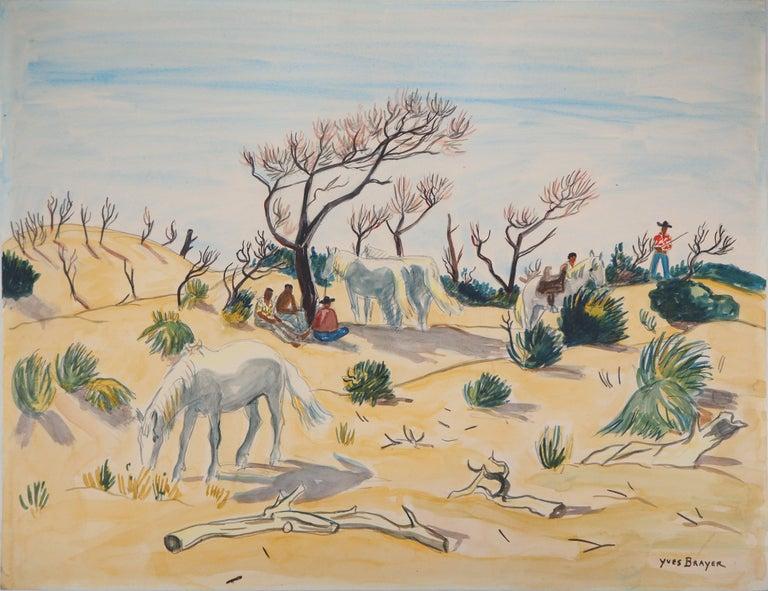 Yves Brayer Landscape Art - Camargue : Horses and Men - Tall Original watercolor, Handsigned