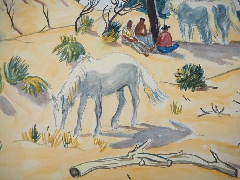 Camargue : Horses and Men - Tall Original watercolor, Handsigned - Beige Landscape Art by Yves Brayer