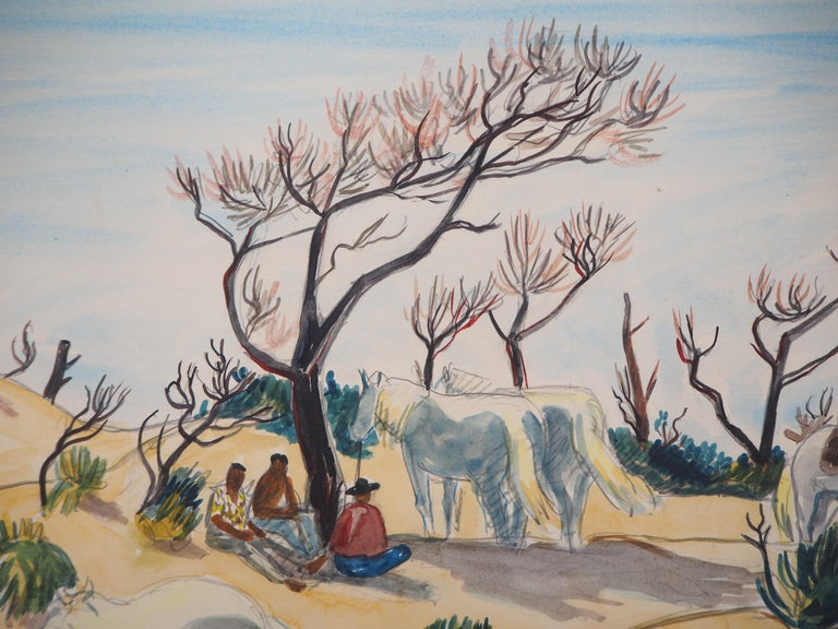 Yves BRAYER Camargue : Horses and Men  Original watercolor Signed bottom right On paper applied on board 50 x 65 cm (c. 20 x 26 inch)  Excellent condition