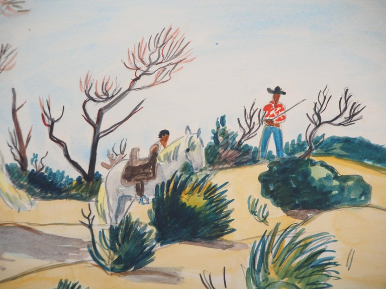 Camargue : Horses and Men - Tall Original watercolor, Handsigned For Sale 1