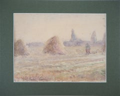 Tribute to Monet : Haystacks and Harvest - Original watercolor painting - Signed
