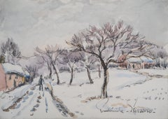 Normandy : Snowy Landscape - Original watercolor painting - Signed