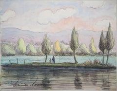Father and Son Fishing in the Morning - Original watercolor painting - Signed