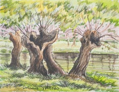 Old Trees near a Canal - Original watercolor painting - Signed