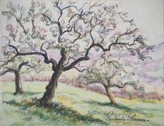 Normandy : Apple Trees in Blossom - Original watercolor painting - Signed