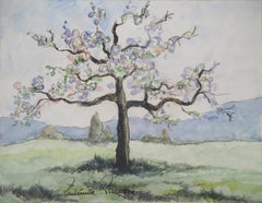 Normandy : Tall Apple Tree in Blossom - Original watercolor painting - Signed