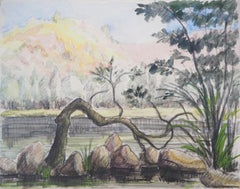 The shore of the Lake - Original watercolor painting - Signed