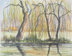 The Cottage and the Weeping Willows - Original watercolor painting - Signed
