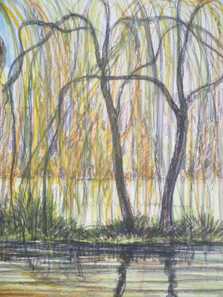The Cottage and the Weeping Willows - Original watercolor painting - Signed For Sale 1