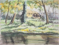The Cottage in the Woods - Original watercolor painting - Signed