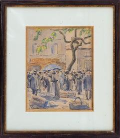 Paris : Market and Traditional Shop - Original watercolor, Handsigned