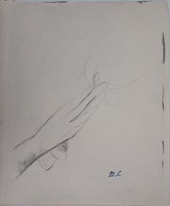 The Gift : Hand with a Flower - Original pencil drawing, 1953