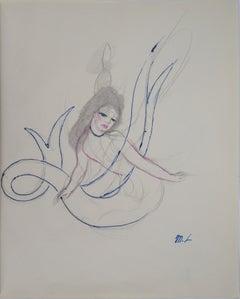 Mermaid - Original ink and pencil drawing, 1953
