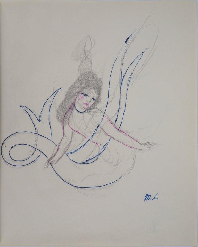 Marie Laurencin Figurative Art - Mermaid - Original ink and pencil drawing, 1953