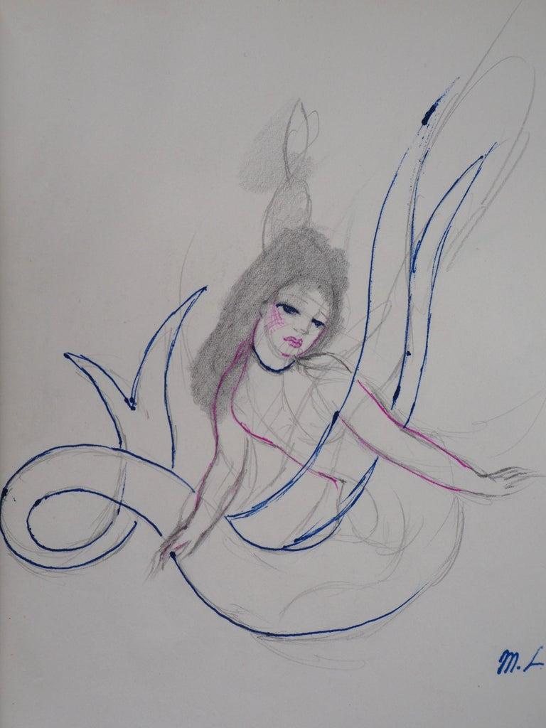 Mermaid - Original ink and pencil drawing, 1953 - Modern Art by Marie Laurencin