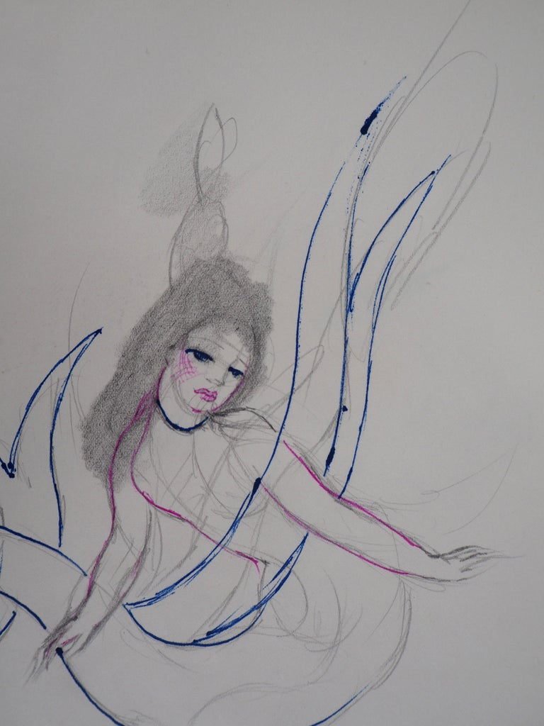 Mermaid - Original ink and pencil drawing, 1953 - Gray Figurative Art by Marie Laurencin