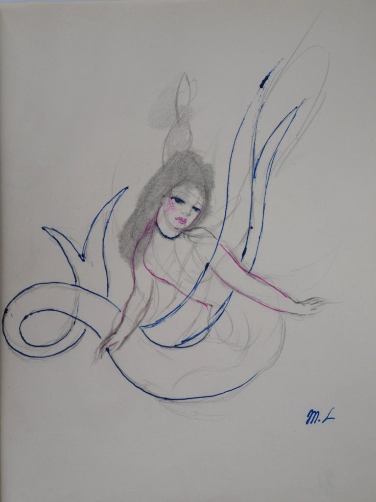 Marie LAURENCIN Mermaid, 1953  Original ink and pencil drawing  Signed by artist stamp On paper 24.5 x 19.5 cm (c. 9.6 x 7.6 inch)  Very good condition, marks of the manipulation on the paper