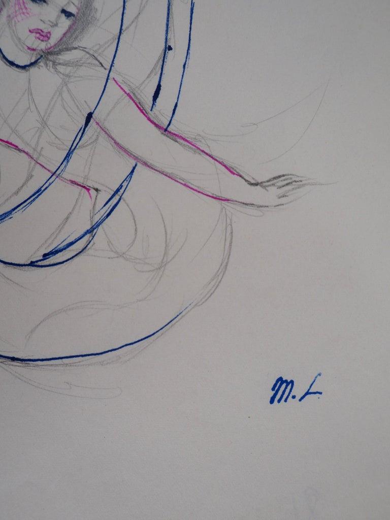 Mermaid - Original ink and pencil drawing, 1953 - Art by Marie Laurencin