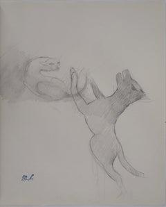 Cat and Dog Playing - Original pencil drawing, 1953