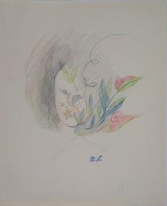 Flower Portrait - Original pencil drawing, 1953