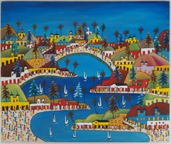 Haiti : Animated City - Original signed Oil on canvas