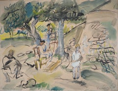 Provence : A Rest under the Trees - Original handsigned gouache & watercolor