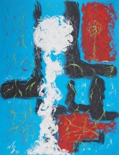 Snow Flower - Original hand signed gouache painting, 1997