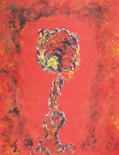 Fauvist rose - original hand signed gouache painting, 1997