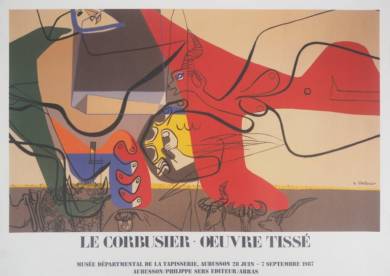 Le Corbusier (after) Figurative Print - Presence (Man with Bull and Animals) - Original vintage poster, 1987