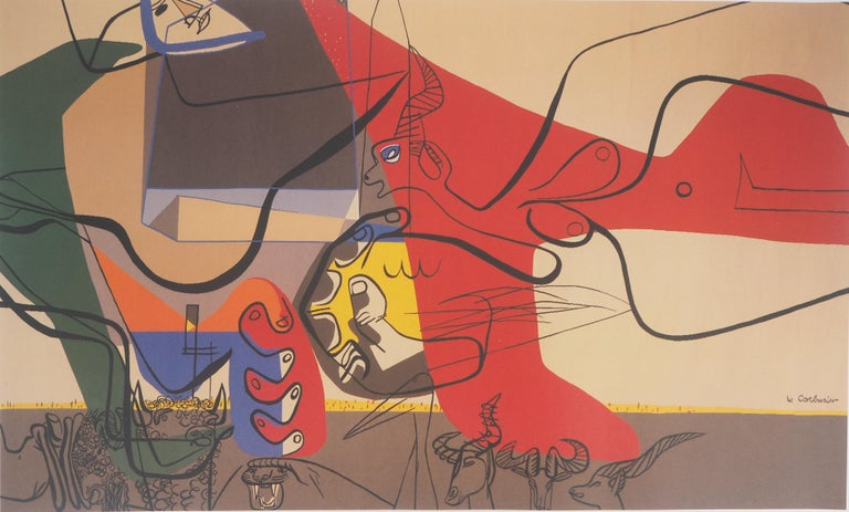 Presence (Man with Bull and Animals) - Original vintage poster, 1987 - Modern Print by Le Corbusier (after)