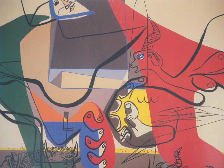 Presence (Man with Bull and Animals) - Original vintage poster, 1987 - Brown Figurative Print by Le Corbusier (after)