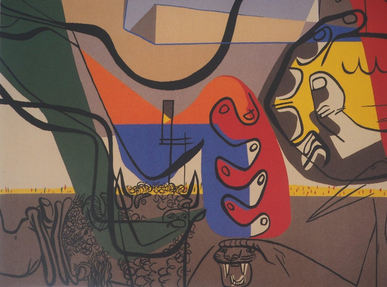 Le Corbusier (Charles-Édouard Jeanneret, called) Presence (Man with Bull and Animals)  Original vintage poster (offset print) With the printed signature in the plate On wove paper 50 x 70 cm (c. 20 x 28 in) Made for the artist exhibition in Aubusson