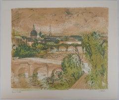 Paris : Seine River - Original lithograph, Handsigned