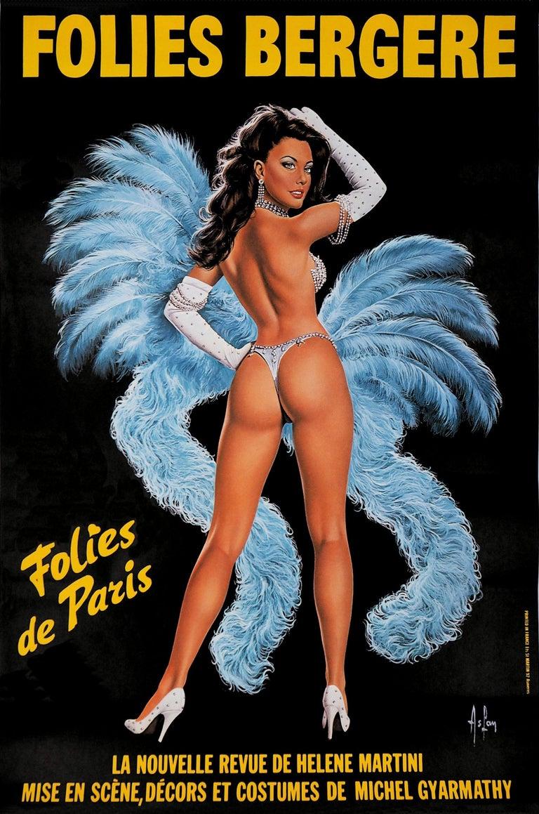 Aslan (Alain Gourdon called) Figurative Print - Folies Bergeres (Blue version) - Tall original vintage poster (Moulin Rouge)